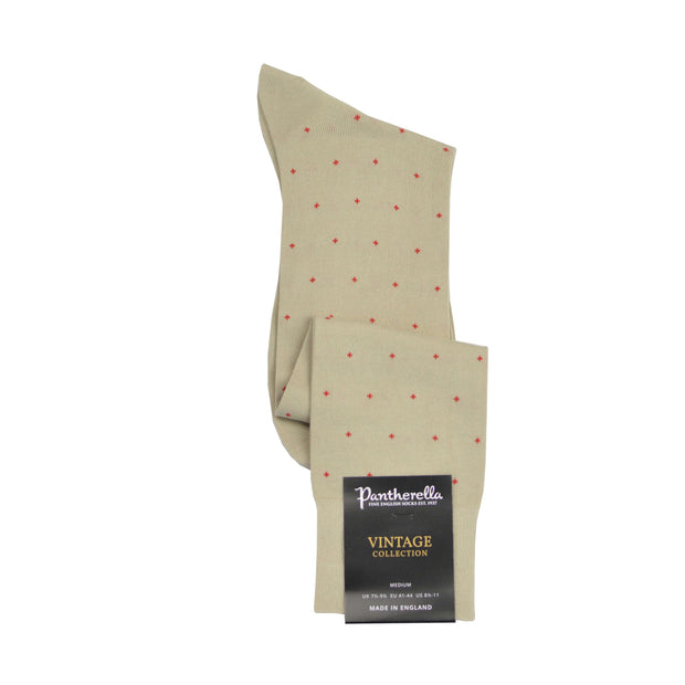 Over-The-Calf Cotton Dress Sock - Tan with Red Dot