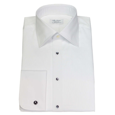 Spread Collar Fitted Body Pleated Front Formal Shirt