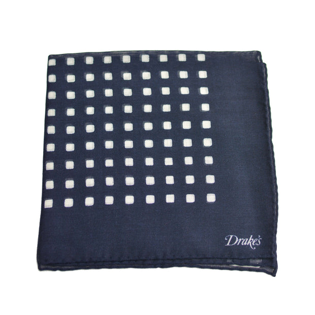 Navy with White Squares Pocket Square