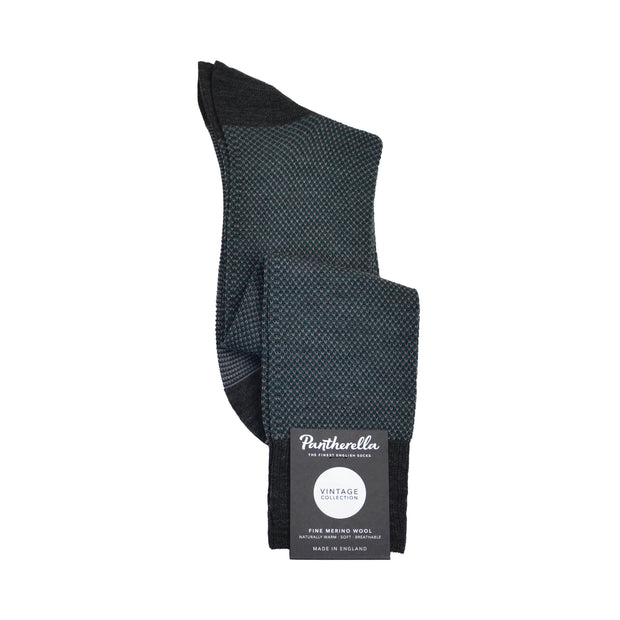 Over-The-Calf Merino Wool Dress Sock - Charcoal Birdseye