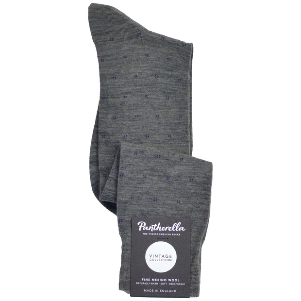 Over-The-Calf Merino Wool Dress Sock - Grey with Mini Squares