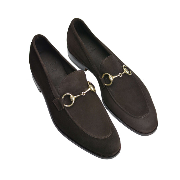Chocolate Suede Horse Bit Loafer