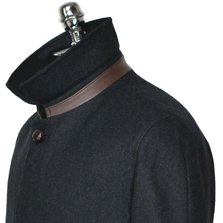 Grey Charcoal Packable Wool Top Coat