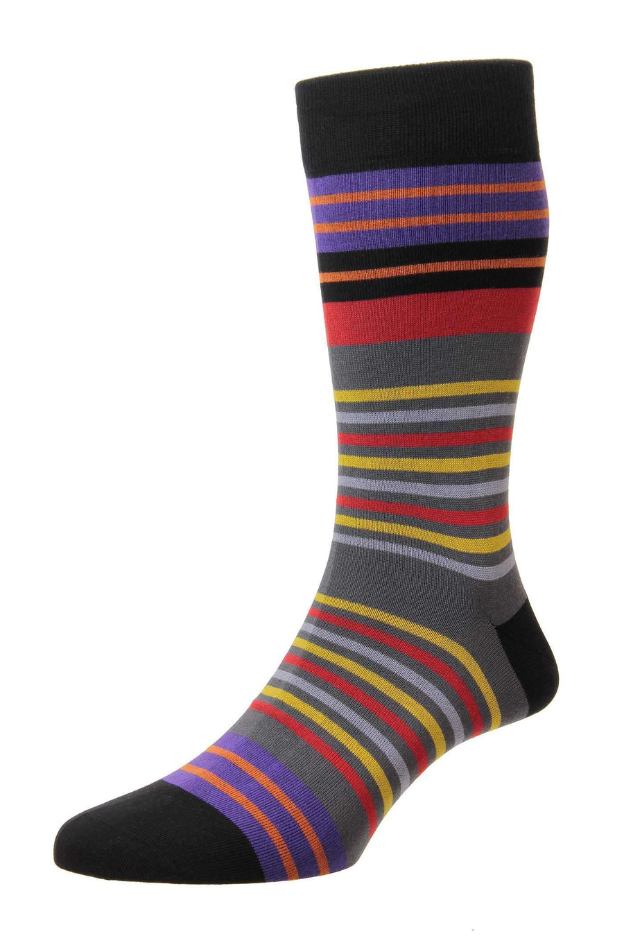 Black Swift Stripe Cotton Mid-Calf