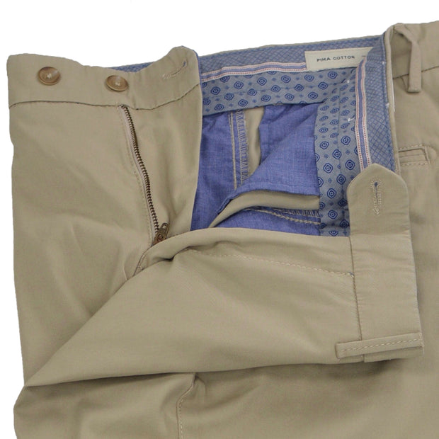 Tan Taupe Washed Twill Chino Cotton Trouser - Contemporary Fit