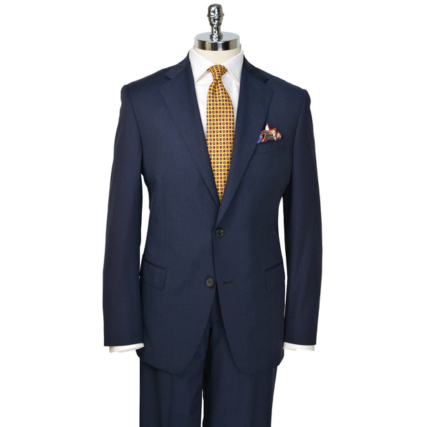 Navy Muted Plaid Wool Suit