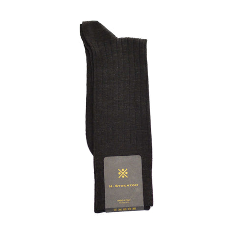 Mid-Calf Merino Wool Dress Sock - Dark Brown