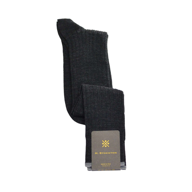 Over-The-Calf Merino Wool Dress Sock - Charcoal Grey