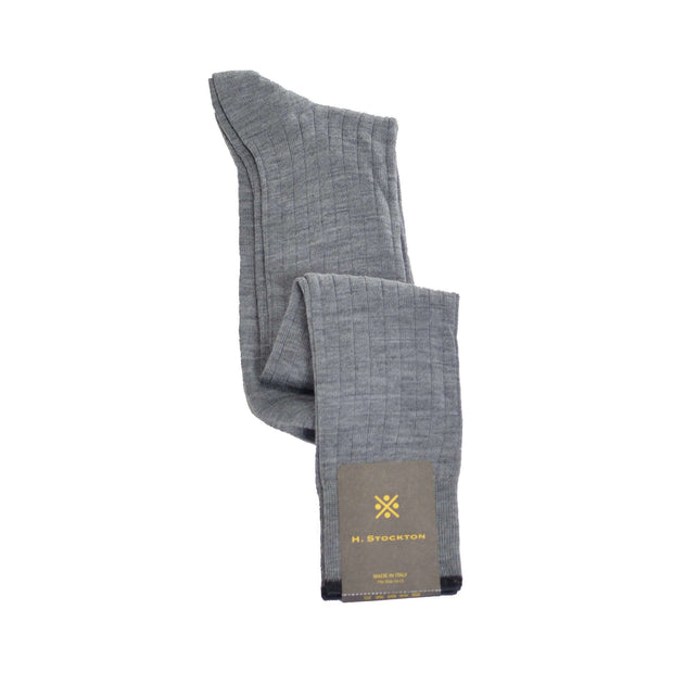 Over-The-Calf Merino Wool Dress Sock - Light Grey
