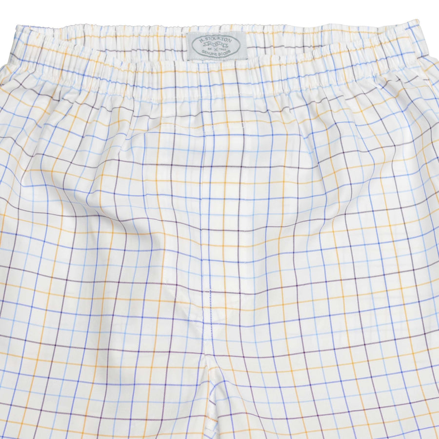 close up navy,gold lt blue window pane boxer