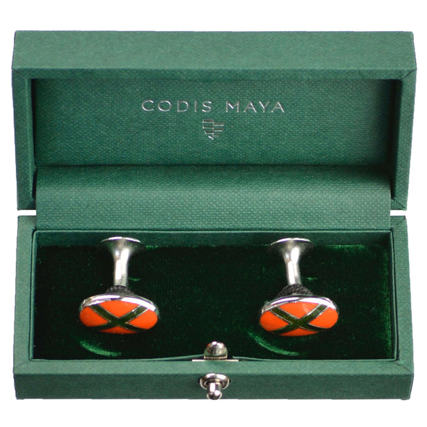 Orange with Olive X Cufflinks