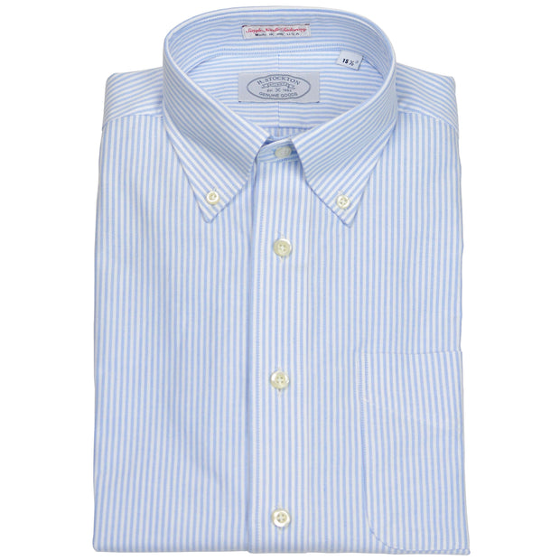 Button-Down Collar Blue & White University Stripe Dress Shirt