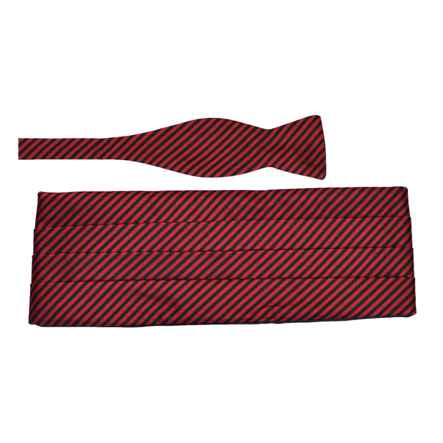 Black & Red Stripe Silk Bow Tie & Cummerbund Set