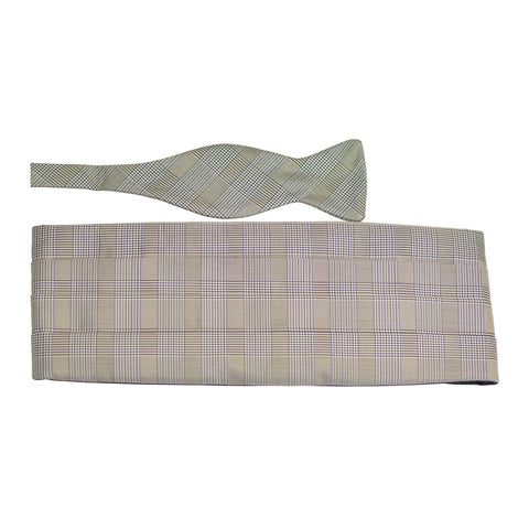 Grey with Blue Glen Plaid Silk Bow Tie & Cummerbund Set