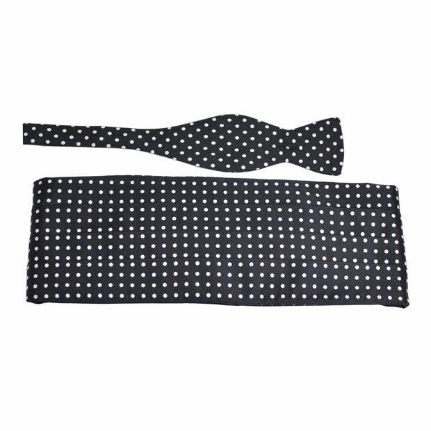 Black with White Dot Silk Bow Tie & Cummerbund Set