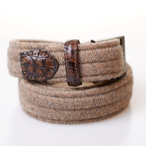 Khaki Stretch Wool Belt with Gator Tab