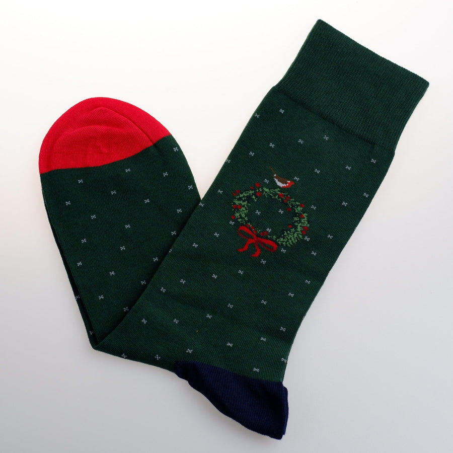 Green Wreath Cotton Mid-Calf