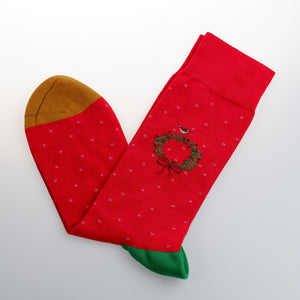 Red Wreath Cotton Mid-Calf