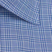 Spread Collar Blue Glen Plaid Dress Shirt