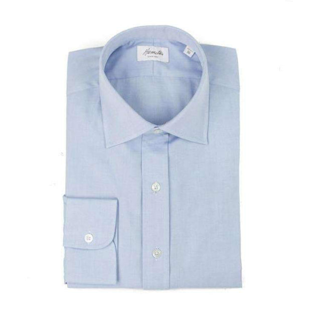 Spread Collar Blue Pinpoint Oxford Dress Shirt
