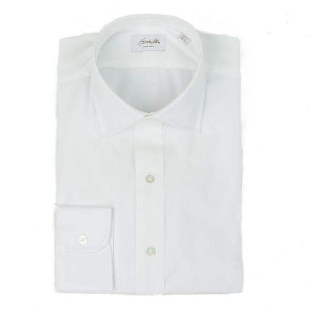 Spread Collar White Pinpoint Oxford Dress Shirt