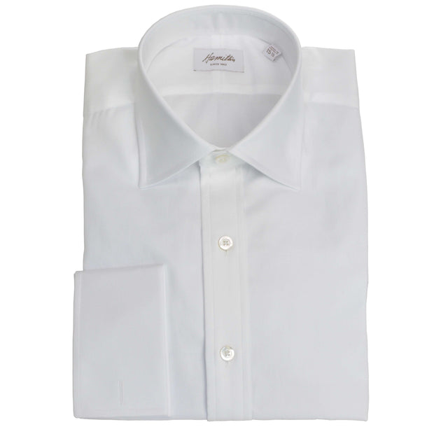 Spread Collar French Cuff White Twill Dress Shirt