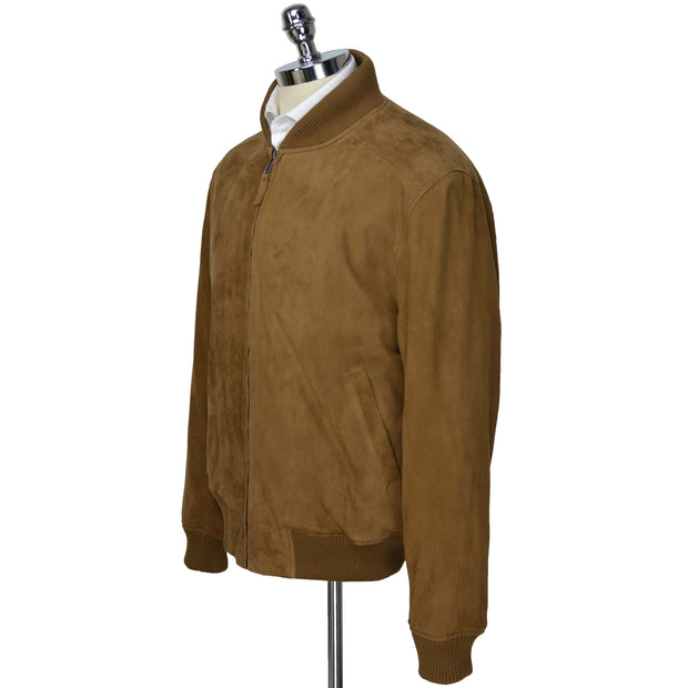 Tan Rum Suede Leather Baseball Jacket
