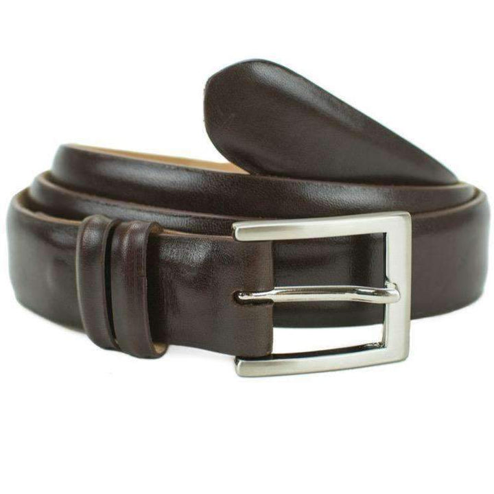 Brown calfskin dress belt