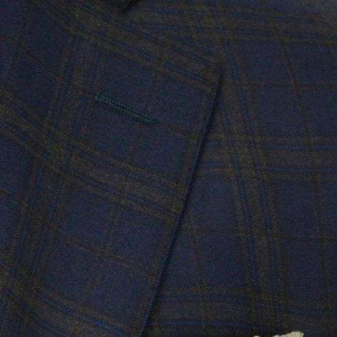 Navy with Camel Plaid Wool Sport Coat