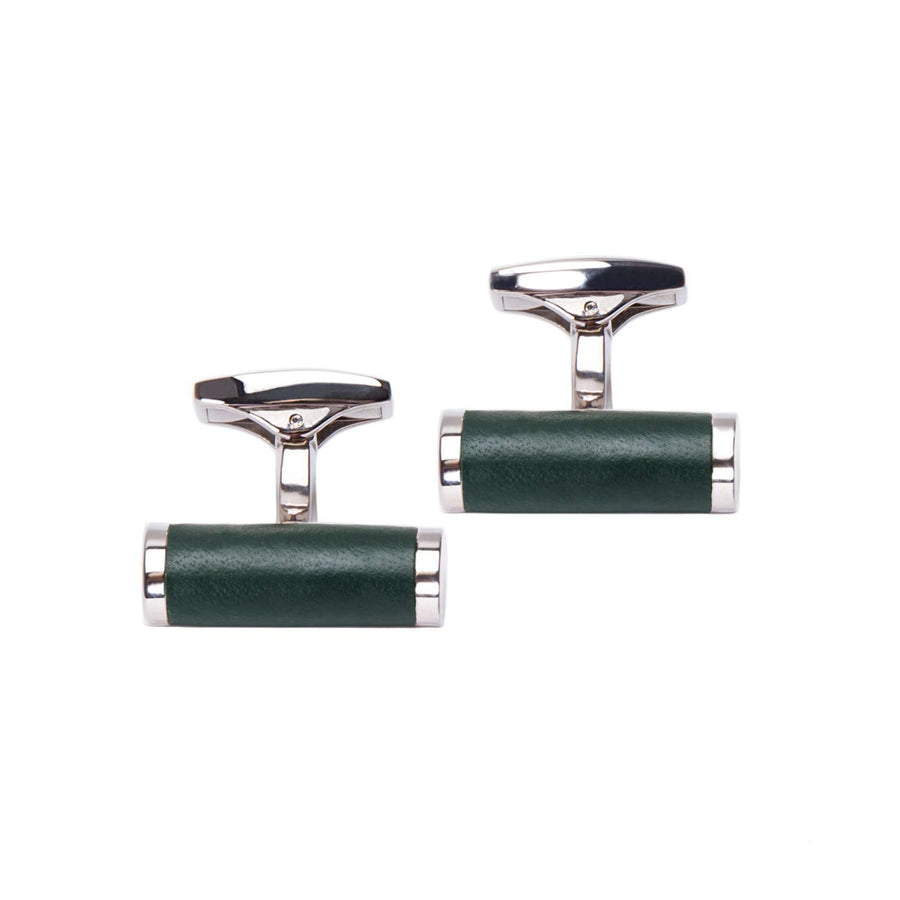 Green Leather Wrapped Bar Cufflinks