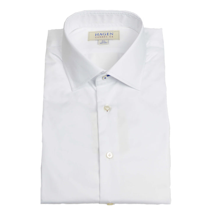 white twill spread collar