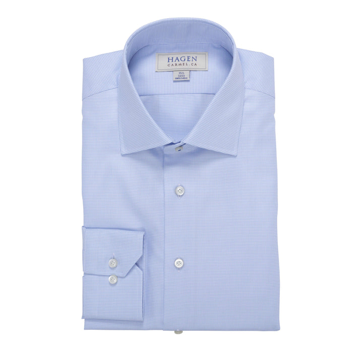 Blue micro houndstooth shirt