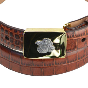 Sterling Quail on Brass Buckle  Belt