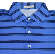 Short Sleeve Blue Marine with Navy & Blue Stripe Performance Polo Shirt