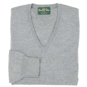 Light Grey Mix Merino V-neck