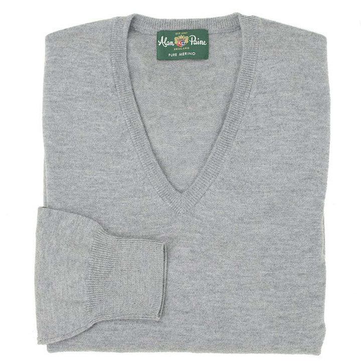 Light Grey Mix Merino V-neck - H. Stockton