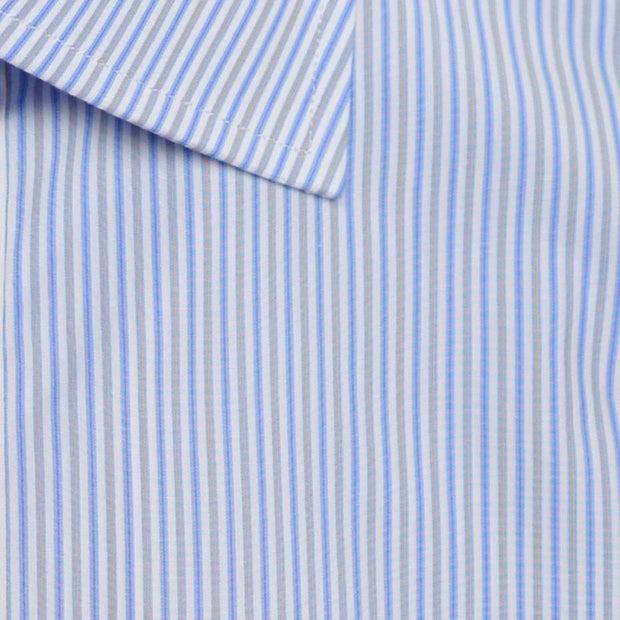 Spread Collar Blue Sky with Yellow Gold Multi Stripe Dress Shirt