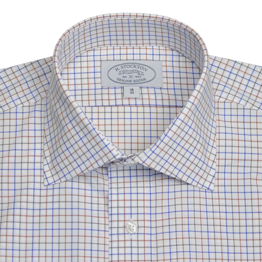 Spread Collar Navy with Brown/Light Olive Tattersall Check Dress Shirt