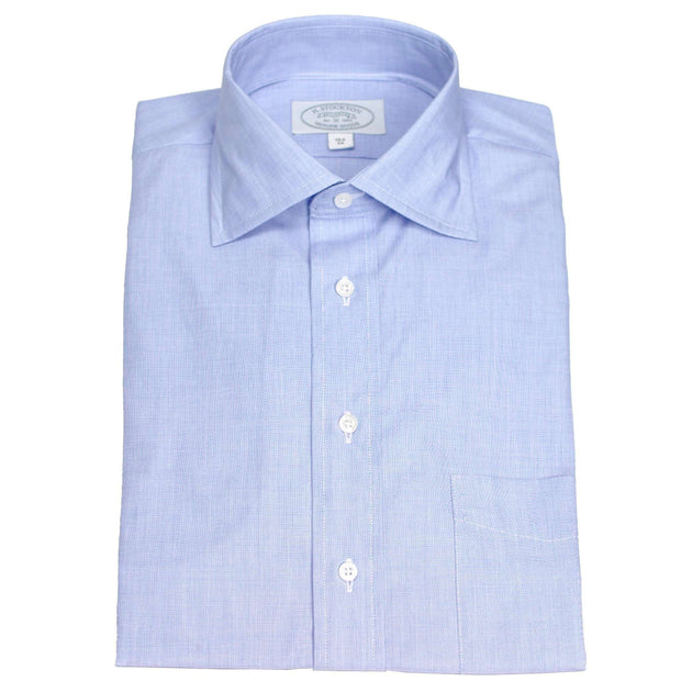 Spread Collar Blue End on End Dress Shirt