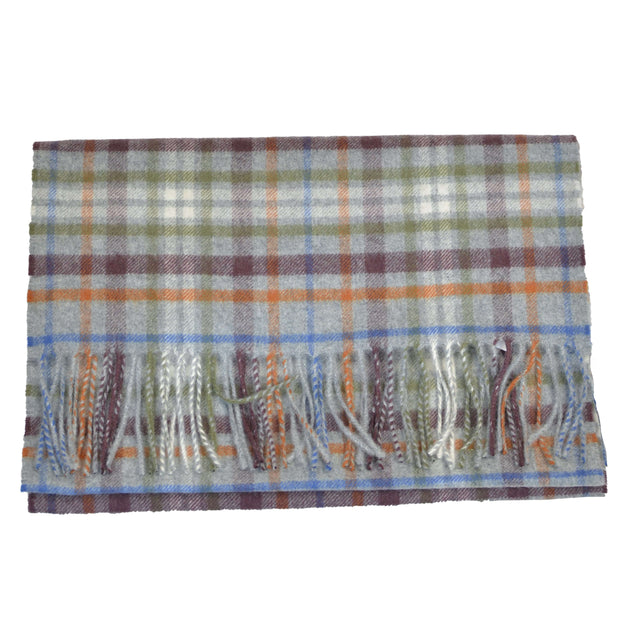 Grey Multi Check Cashmere Scarf