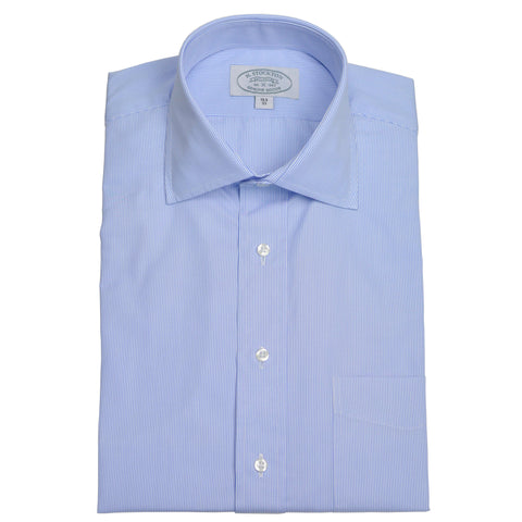 Spread Collar Blue Pinstripe Dress Shirt