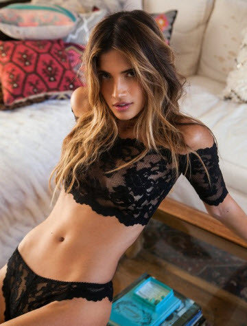 Hot Sale! Sexy Hot Black Lace Perspective Bra + Thongs Lingerie Set
