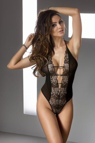 Sexy Hot Erotic Halter Teddy With Lace Embroidery Lingerie (Plus Size)