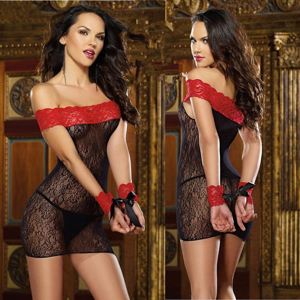 Sexy Lingerie Hot Black Off Shoulder Lace Babydoll