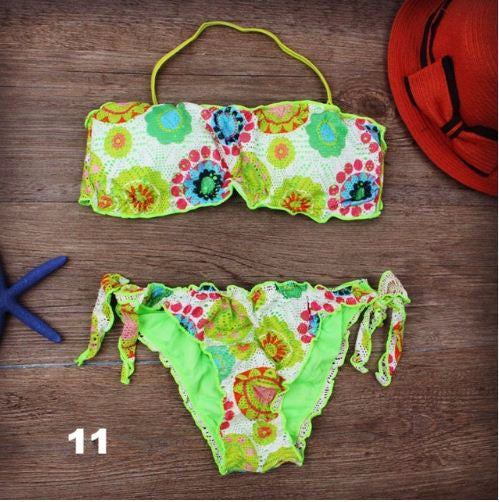 Sexy Embroidered Brazilian Bikini Set (Plus Size)