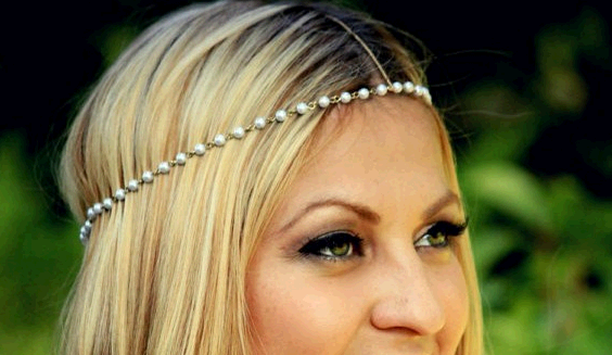 Bohemian Women Metal Pearl Head Chain Jewelry Forehead Headband