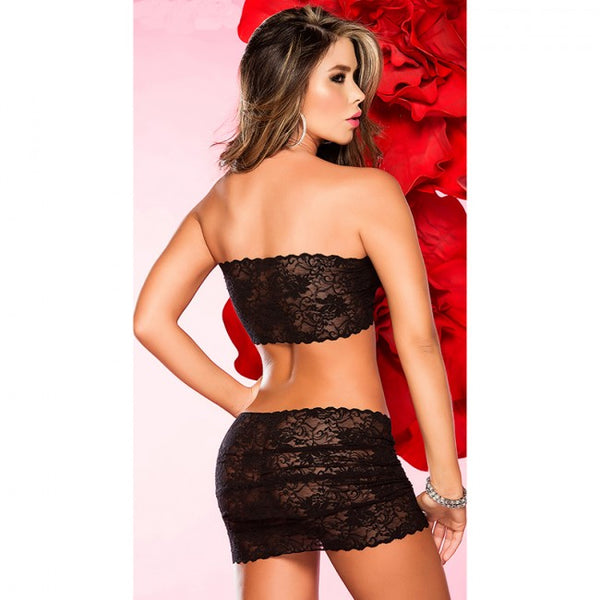 NEWEST Sexy Babydoll Lace Bow Dress with G-string Lingerie Set