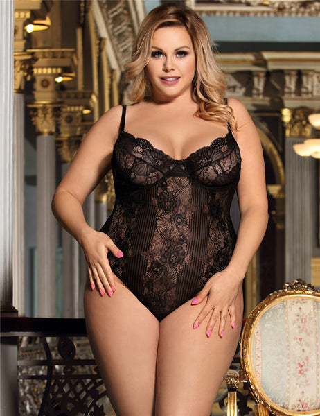 Glamour Underwire Sheer Lace Bodysuit
