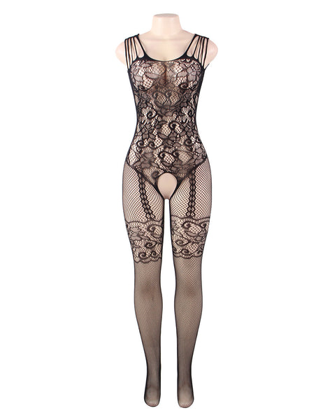 Black Mesh Fishnet Open Crotch Transparent Lingerie