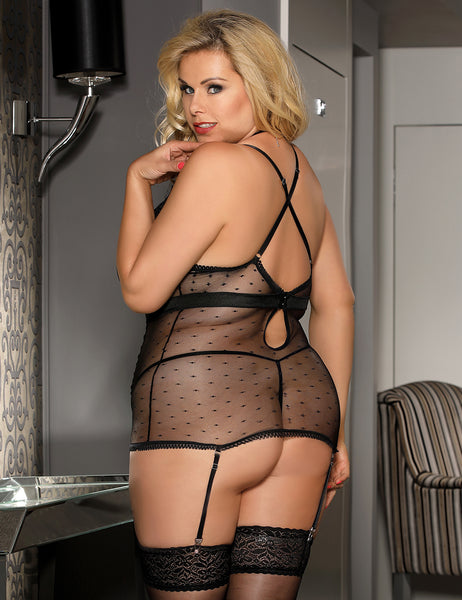 Black Transparent Satin Lace Stitching Babydoll